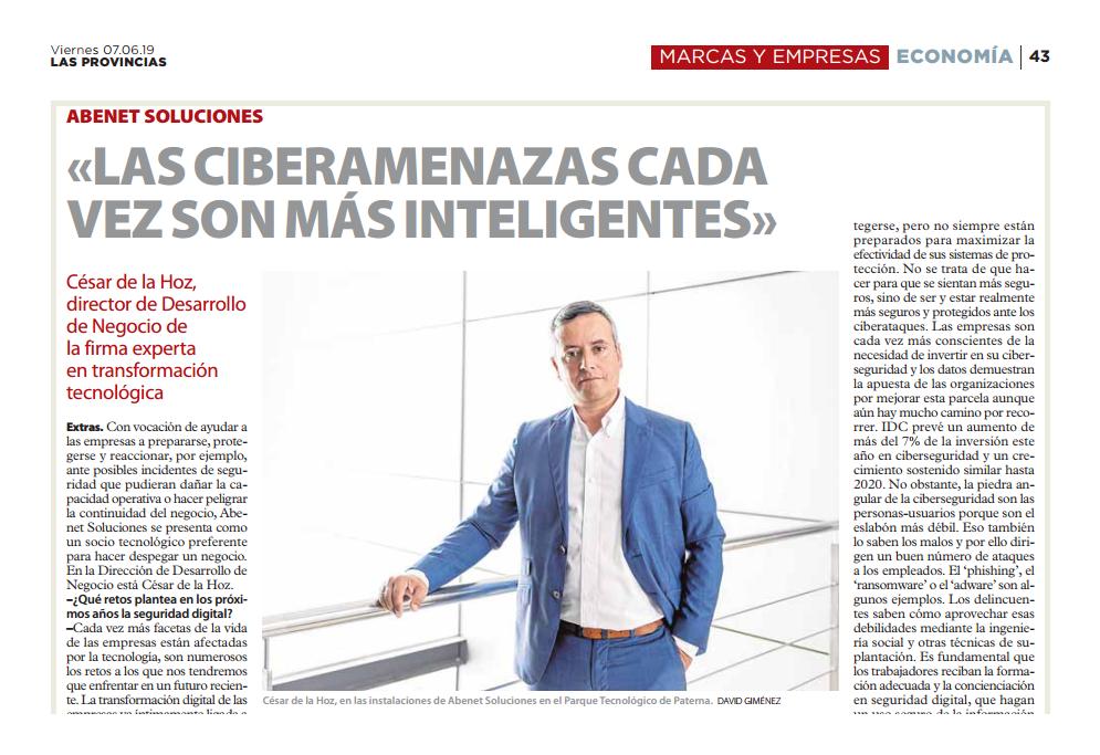 Entrevista Las Provincias Abenet Soluciones Seguridad Digital en la empresa